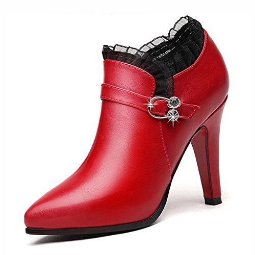 Schuhe Farbe Sexy Größe Leder 37 Rot Spitzen Stiletto Heels HWF Brautjungfer Damenschuhe nXO8x0qn