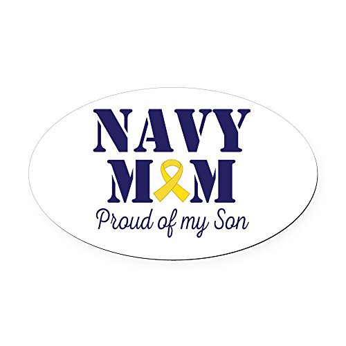CafePress - Navy Mom Proud Son - Oval Car Magnet, Euro Oval Magnetic Bumper Sticker Navy Car Magnets
