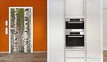 Papel autoadhesivas de bosque de abedules - diseño de troncos de madera en blanco y negro - 93 x 205 cm color-Calidad: limpiar, colores intensos, no deja hacer: Amazon.es: Hogar