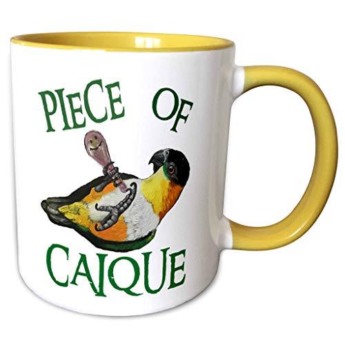 3dRose Skye Elizabeth Designs - Black Headed Caique with rattle - 15oz Mug (mug_308314_2) - 15-oz two-tone yellow mug