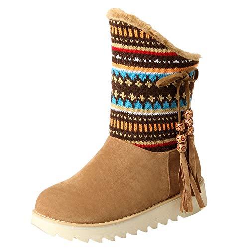 Limsea Women Snow Boots Retro Tassel Folk-Custom Ankle Round Toe Shoes 9.5 Yellow