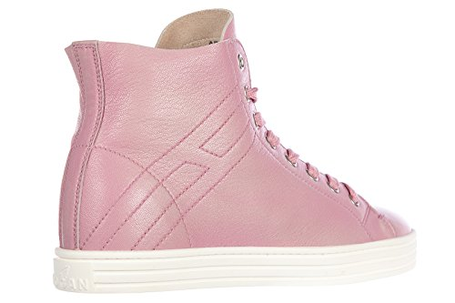 Hogan Rebel Damenschuhe Damen Leder Schuhe High Sneakers r182 rebel vintage rosa
