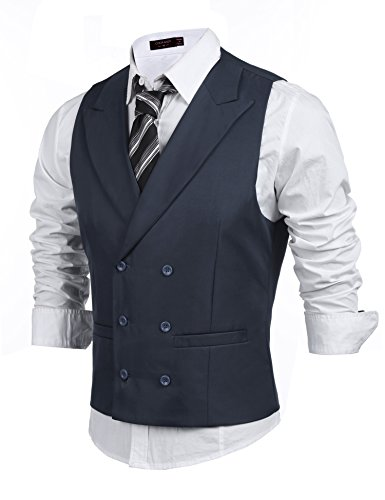 Coofandy Men's Double Breasted Classic Formal Waistcoat Slim Suit Vest, Charcoal, Small