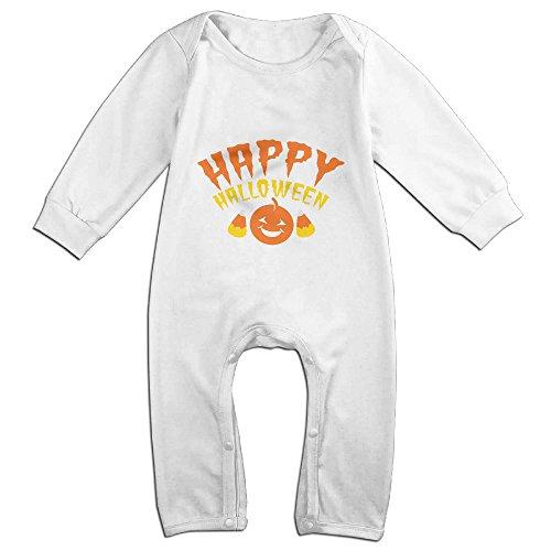 Ellem Cute Happy Halloween Pumpkin Smile Climbing Clothes Baby White 12 -