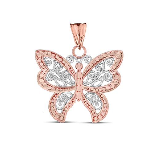 (Elegant 10k Two-Tone Rose Gold Filigree & Sparkle-Cut Butterfly Charm)