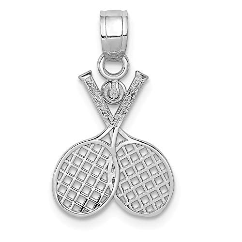 (14k White Gold Double Tennis Racquet Pendant Charm Necklace Sport Tennis/racquet Man Fine Jewelry Gift For Dad Mens For Him)