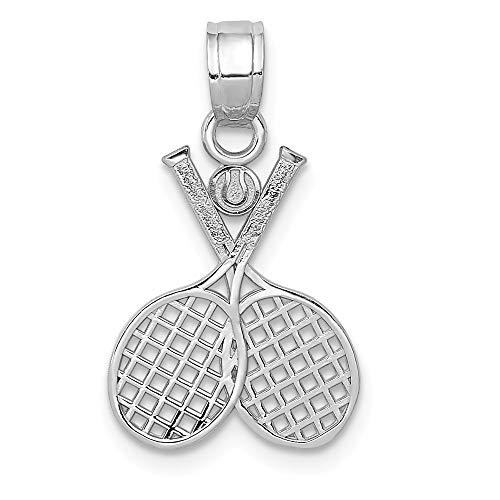 (Mia Diamonds 14k Solid White Gold Double Tennis Racquet Charm)
