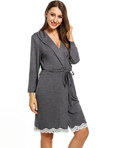 Hufcor Lightweight Knee Length Waffle Kimono Bridesmaids Spa Rob (Dark Gray 1, XL)