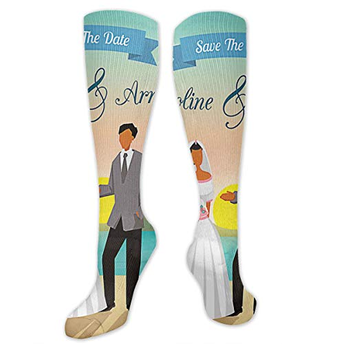 Beach Wedding Save The Date Polyester Cotton Over Knee Leg High Socks Coolest Unisex Thigh Stockings Cosplay Boot Long Tube Socks for Sports Gym Yoga Hiking Cycling Running Travel