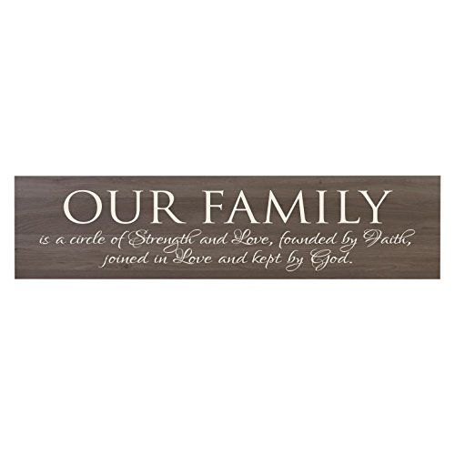 LifeSong Milestones Our Family Is A Circle of Strength Decorative Wall Sign for living room entryway, kitchen, bedroom,Office, Wedding or Anniversary Gift Ideas (Salt Oak)