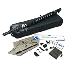 Nuvo N210SFBK Student Flute Kit with Straight Head, C-Foot, Case and Accessories - Black with Stainless Steel Collars