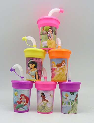 6 Disney Princess Ariel, Cinderella, Belle, Jasmine, Tiana Stickers Birthday Sipper Cups with lids Party Favor Cups by Neon