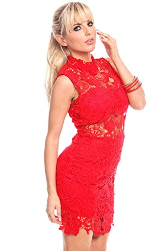 Lolli Couture 2 PC FLORAL LACE HIGH NECK ZIPPER BACK DRESS WITH BANDEAU PARTY DRESS M red