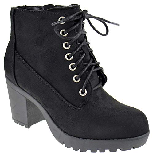 SODA Second S Womens Lace Up Chunky Heel Side Zipper Platform Booties Black Suede 7.5 ()