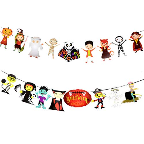 FineInno 2Pack Happy Halloween Banner Hanging Bunting Banner Sets Letter Pull Flower Theme Long Paper Chain Garland Décor for Party Home School Classroom (Style 3)