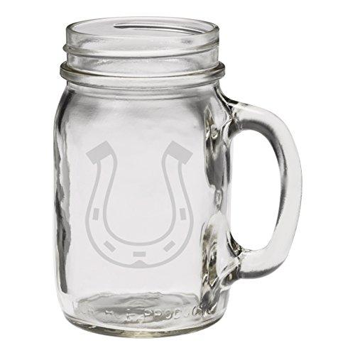 Horseshoe 12 oz Hand Etched Glass Mason Jar Mug -