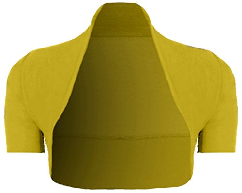 Damen Bolero - Shrug - Schulterjacke - Jäckchen - Cardigan - Strickjacke Gelb