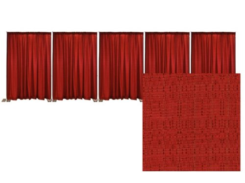 Adjustable Pipe and Drape Banjo Backdrop Kit 14 ft. x 50 ft. - Red by P.D.O.