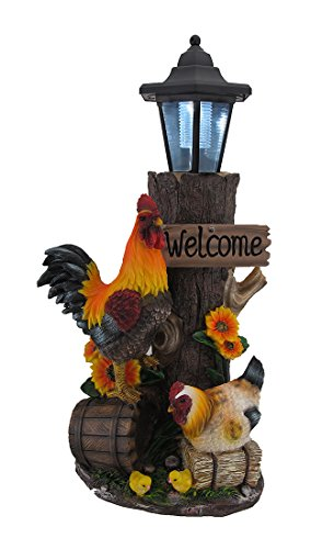 Zeckos Rooster Family Solar LED Lantern Statue and Welcome Sign