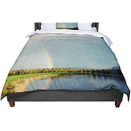 KESS InHouse Robin Dickinson Count Rainbows Nature Typography Twin Comforter 68 X 88