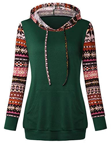 Celebrating Reindeer - SUNGLORY Women's Casual Long Sleeve Hoodie Christmas Reindeer Pullover Sweatshirts Tops Deep Green
