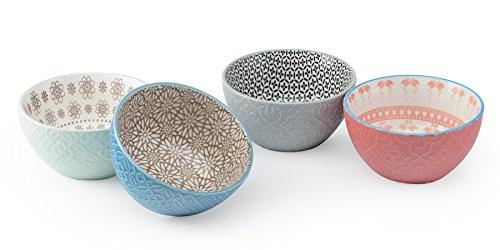"Signature Housewares 28 oz Pad Print PP7 Assorted 6"" Bowls (Set of 4), Multicolor"