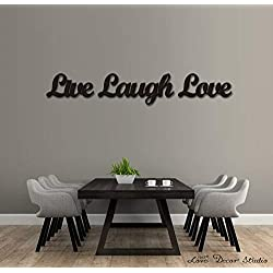 Love Decor Studio _ 1968 Wooden Letters Art 3D Cutout 'Live, Laugh, Love' Set Products (13.4cmX45.1cmX1.5cm)