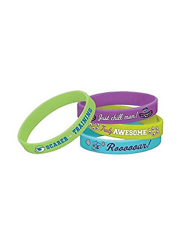 Amscan Mons Terrific Disney Monsters University Rubber Bracelet Birthday Party Accessory Favor and Prize Giveaway (4 Piece), Multicolor, 2 1/2