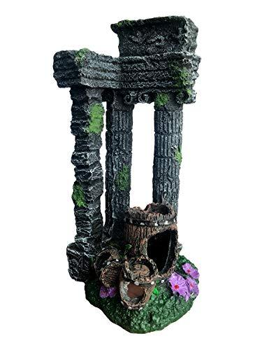 XiR Aquarium Decorations Roman Ruins Corner Column with Coral Broken Barrel Ornament for Fish Tank