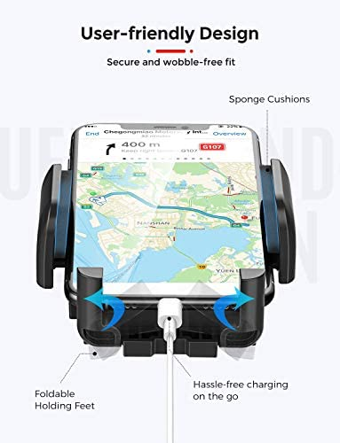 Mpow Car Phone Mount, Dashboard Windshield Car Phone Holder with Long Arm, Strong Sticky Gel Suction Cup, Anti-Shake Stabilizer Compatible iPhone 12 11 professional/11 professional max/XS/XR/X/8/7,Galaxy, Moto and More