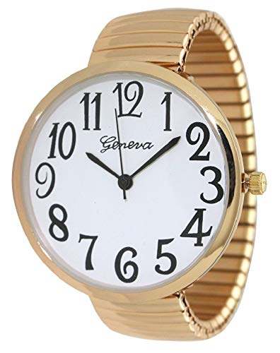 Geneva Super Large Stretch Watch Clear Number Easy Read (Gold)
