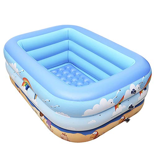 Szblk Children's Paddling Pool Inflatable Pool Home Pool PVC Swimming Pool 3 Layers Thick Pool Cute Cartoon (59.05in41.33in21.65in)
