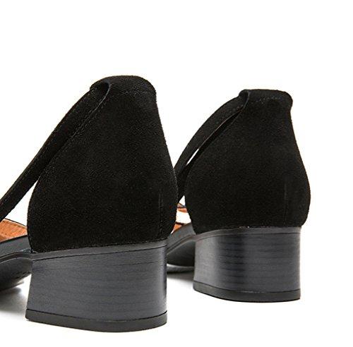 Pantofole alti Nero estivi tacco basso moda Sandali donna Tacchi con da basso DHG 37 Sandali casual alla a piatti Sandali tacco qA5Epn