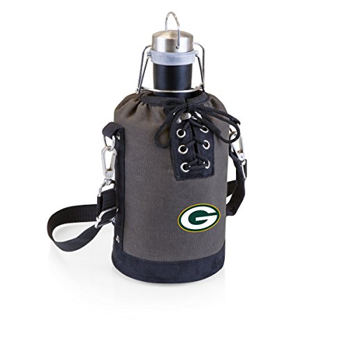 n Bay Packers Stainless Steel 64-Ounce Matte Black Growler with Gray/Black Canvas Lace-Up Tote ()
