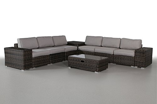 Camden Storage Coffee Table - Living Source International 10 Piece Storage Coffee Table and Cup Holder Sets (10 Piece Rattan Sectional Set, Camden Brown)