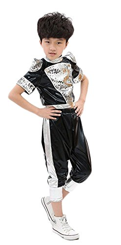 Latin Costumes Dance (AvaCostume 2-Piece Set Latin Dance Costumes Unisex Performance Clothing, SBlack,)