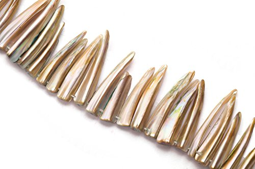 (Metallic Green Mother-Of-Pearl Shark Tooth Shell Beads Size:31x8mm)