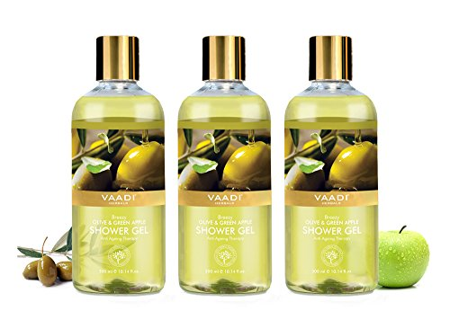 Shower Gel – Sulfate-Free – Herbal Body Wash both for Men and Women – 300 ml 10.14 fl oz – Vaadi Herbals Breezy Olive Green Apple 3 Bottles
