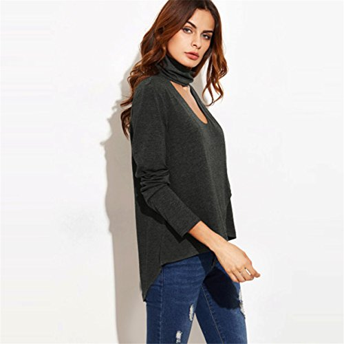 Femmes T-shirt, Reaso Sexy manches longues col V Irregular Slim Chemisier Tops