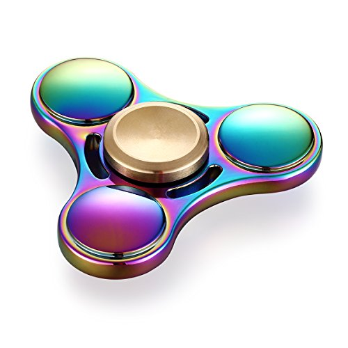 【2017 Upgraded】Colorful Triangle Spinner and Double Fidget Spinner Metal Material New Style EDC Hand Fidget Spinner for High Speed Relieving ADHD, OCD, Anxiety (Rainbow 3) EXSPORT