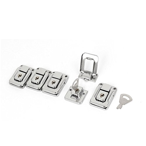 Aexit Suitcase Chest Cabinet Hardware Iron Nickel Plating Toggle Catch Latch Hasp Silver Tone Latches 40x27x9mm 5pcs