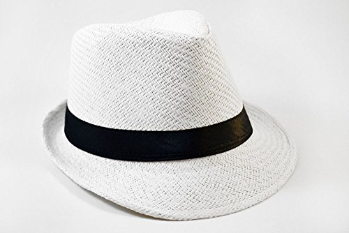 [Solid Band Summer Straw Fedora - White Black W20S58B (Large)] (Gangster Hats For Sale)