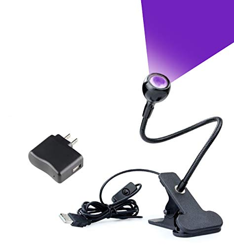 Clamp Lamp Mini (LED Blacklight, Gooseneck Lamp with Clamp, UV Blacklight Fixture for Stain detection, Black light lamp for Blacklight Posters, Blacklight Party, Art - Ultraviolet curing, Great for fluorescent paint)