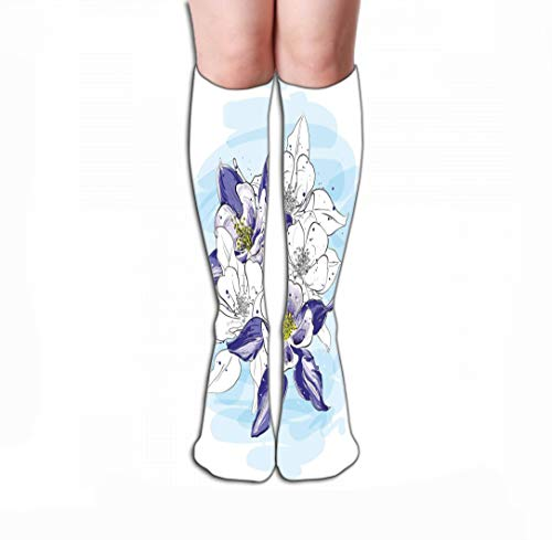 (Xunulyn Men Women Outdoor Sports High Socks Stocking Flower Arrangement Picturesque Sketch Style Bouquet Flowers Graphic Fragments Cards Printing Tile Length 19.7