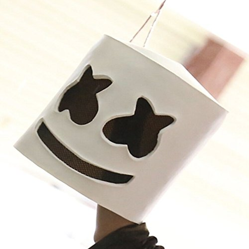 RTING Halloween Marshmello Mask Party Props Helmet Hard Latex Solid Masks