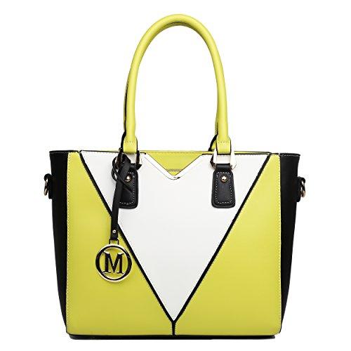 giallo donna Lulu borsetta Strap in e Patchwork V Borsa Zip a Miss stile Blu e tasche uno due spalla interne da con 81dx4AnX