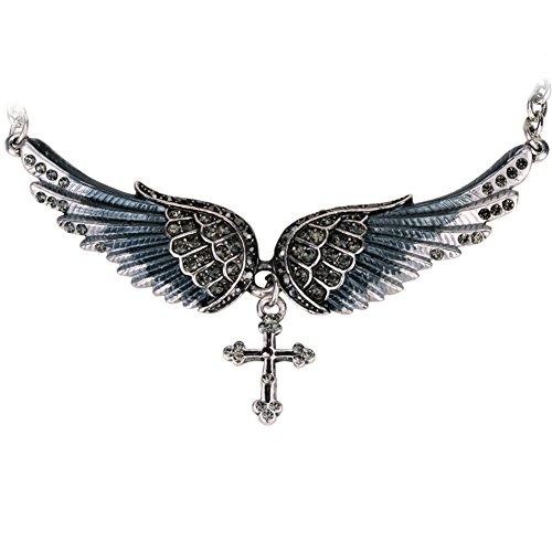Szxc Jewelry Women's Crystal Angel Wings Cross Choker Necklaces 18
