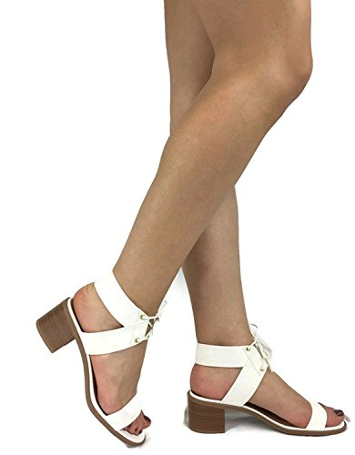 White Leather Strap Sandal (City Classified Women's Dress Sandal Chunky Heel Over Toe & Ankle Wrap Tie Front Strap White 7.5)