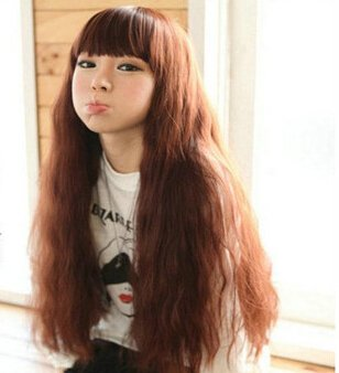 Orino Beauty™ High Quality New Fashion Fluffy Fancy Dark Brown Long Full Wig, Curl Wigs with Neat bangs(OBW-#016)