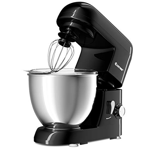 Costway Tilt-head Stand Mixer 4.3Qt 6-Speed 120V/550W Electric Food Mixer w/Stainless Steel Bowl (Black)